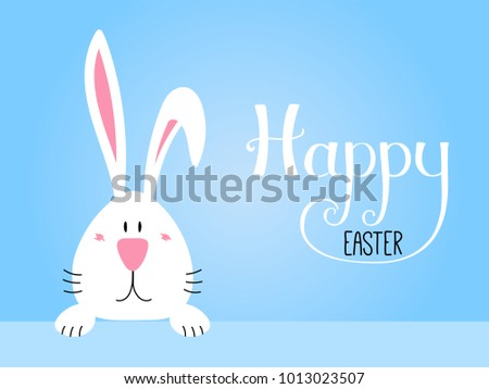 Hand drawn vector illustration with cute cartoon bunny portrait, Happy Easter lettering. Isolated objects. Vector illustration. Festive design elements. Concept for greeting card, invitation. #1013023507