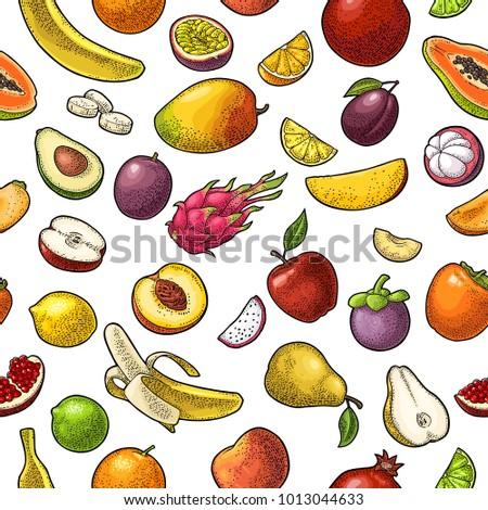 Seamless pattern fruits. Mango, lime, banana, maracuya, avocado, dragon, lemon, orange, garnet, peach, apple, pear, plum, passion, papay, persimmon, cherry. Vector color vintage engraving isolated #1013044633
