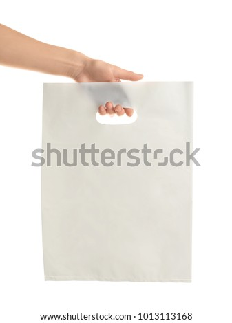 Woman holding bag on white background. Mockup for design #1013113168