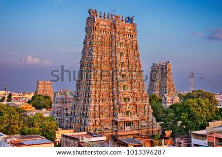 Hindu meenakshi amman temple Royalty-Free Stock Photo #1013396287