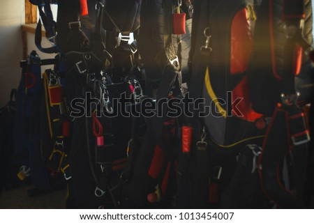 Storage of packed parachutes in a room of drop zone. Parachute jumps. Parachute equipment. Skydiving. #1013454007
