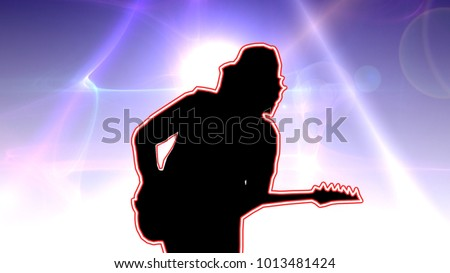 Cool guitarist in the baseball cap playing the electric guitar on a glowing blue background #1013481424