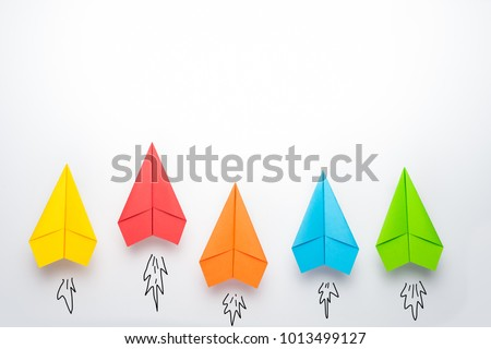 paper plane on white background, Business competition concept. Royalty-Free Stock Photo #1013499127