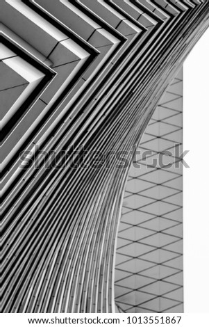 Fragment of modern building from different points of view. Black and white picture