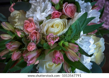 Wedding flowers, bouquet, love, day, marriage, background, rings, decoration, concept, holiday. #1013567791
