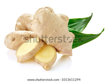 Ginger with leaves Isolated on a white #1013611294
