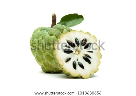 Sugar apple or custard apple with slice and green leaf isolated on white background, exotic tropical Thai annona or cherimoya fruit, healthy food #1013630656