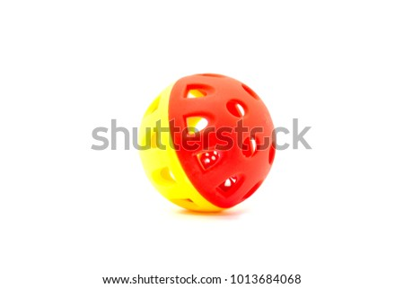 Blue and red plastic bell ball, toy for dog and cat #1013684068