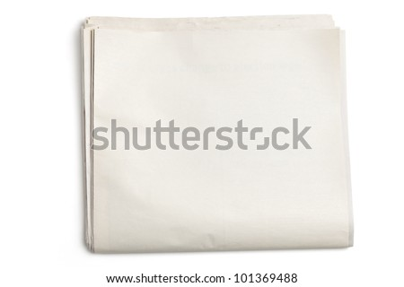 Blank Newspaper with white background Royalty-Free Stock Photo #101369488