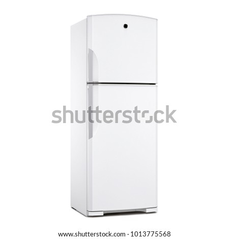 Double Door Refrigerator Isolated on White Background. Side View of White Top Mount Fridge Freezer. Domestic and Kitchen Appliances #1013775568