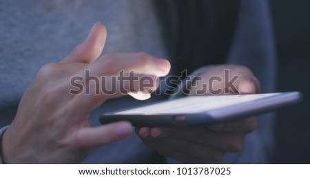 Close up of woman use of smart phone  #1013787025