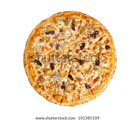 Pizzawith seafood. italian kitchen. Studio. isolated on white background. clipping Path #101385109