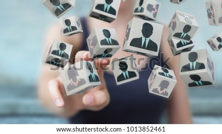 Businesswoman on blurred background choosing candidate for a job 3D rendering #1013852461