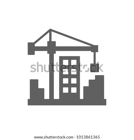 Crane with building icon in trendy flat style isolated on white background. Symbol for your web site design, logo, app, UI. Vector illustration, EPS #1013861365