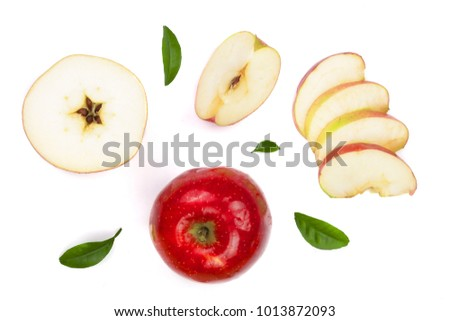 red apples with slices and leaves isolated on white background top view. Set or collection. Flat lay pattern #1013872093