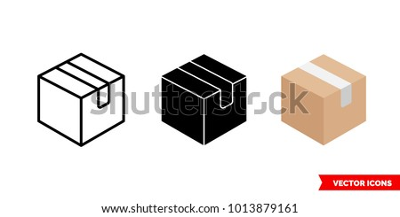 Box icon of 3 types: color, black and white, outline. Isolated vector sign symbol. Royalty-Free Stock Photo #1013879161