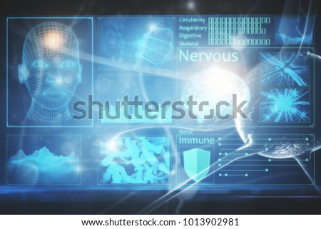 Abstract medical interface on blurry backdrop. Innovation and medicine concept. Double exposure  #1013902981