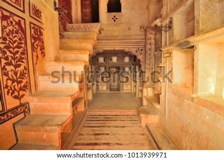 Jaisalmer, India - November 10, 2017: Interior architecture of patwon ki haveli. #1013939971