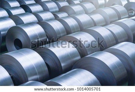 Cold rolled steel coil at storage area in steel industry plant. Royalty-Free Stock Photo #1014005701