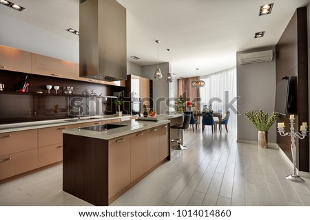 kitchen with appliances and a beautiful interior #1014014860