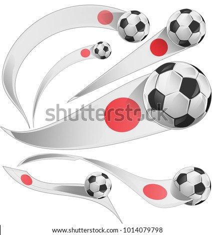 japan flag set with soccer ball isolated