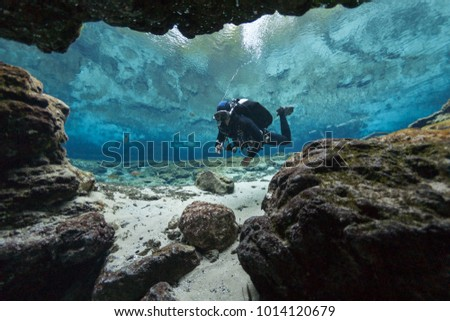 divers underwater caves diving Ginnie Springs Florida USA Royalty-Free Stock Photo #1014120679