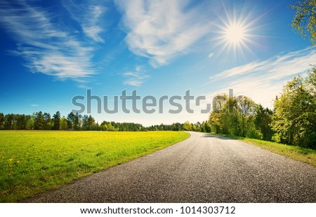 asphalt road panorama in countryside on sunny spring day.. Route in beautiful nature landscape with sun, blue sky, green grass and dandelions Royalty-Free Stock Photo #1014303712