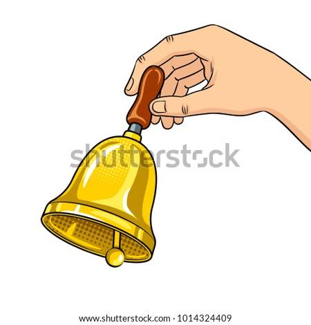Hand ring bell pop art retro raster illustration. Isolated image on white background. Comic book style imitation.