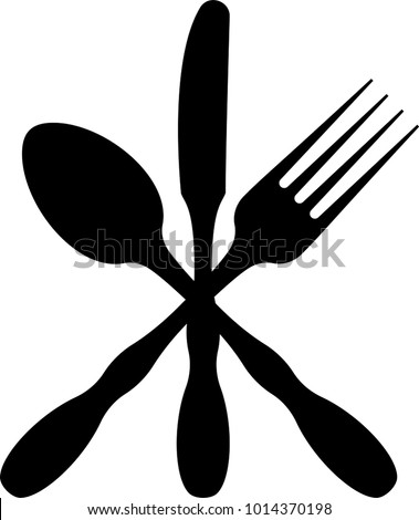 Cutlery Icon, Fork, Spoon And Knife Vector Art Illustration