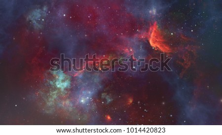 Starry deep outer space - nebula and galaxy