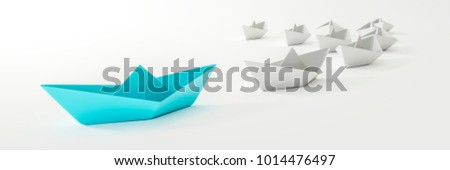 3d illustration of a blue boat and some white #1014476497