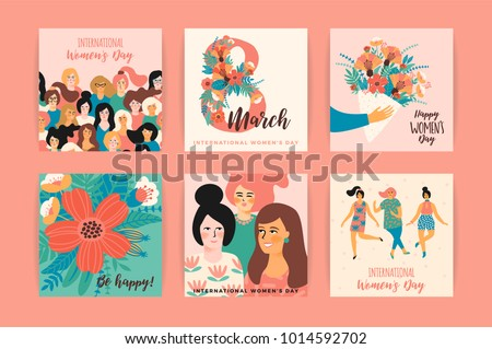 International Women's Day. Vector templates for card, poster, flyer and other users #1014592702
