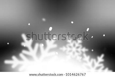 Light Gray vector cover with beautiful snowflakes. Snow on blurred abstract background with gradient. The pattern can be used for new year ad, booklets. #1014626767