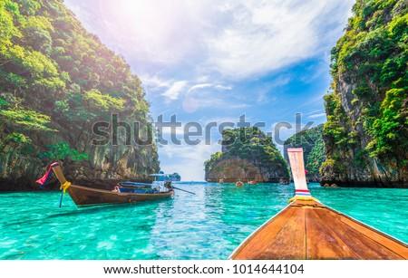 View of Loh Samah Bay, Phi Phi island, Thailand Royalty-Free Stock Photo #1014644104