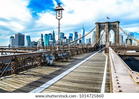 Brooklyn Bridge, skyline New York. Magic travel in usa, new york city holiday happy. Experience to see and live in USA Wallpaper for your house