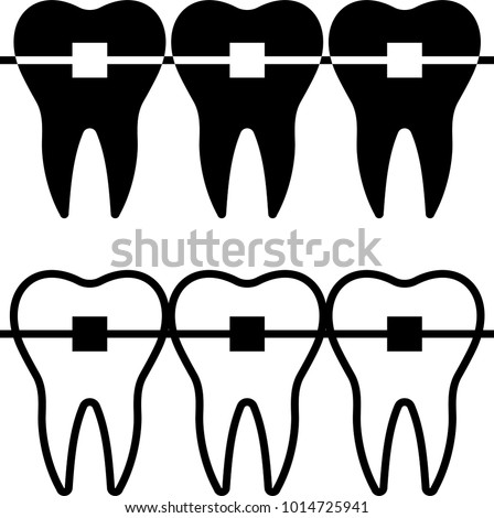 Tooth Braces Icon, Braces Raster Art Illustration
