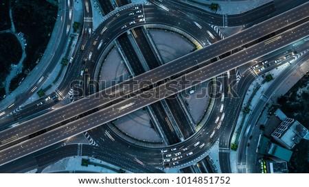 Aerial view Bangkok Expressway, Highway, Motorway, Tollway, Bangkok, Thailand. #1014851752