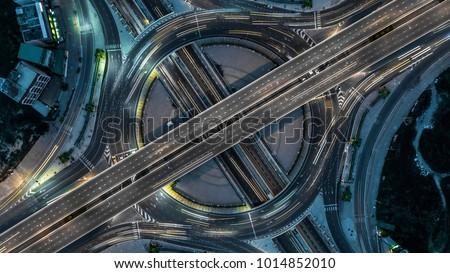 Aerial view Bangkok Expressway, Highway, Motorway, Tollway, Bangkok, Thailand. #1014852010