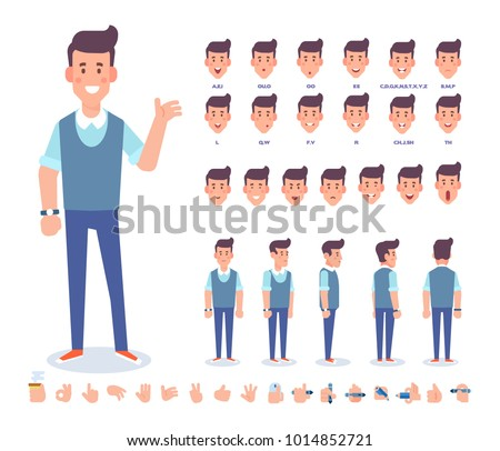 Young man character for your scenes. Character creation set with various views,  face emotions,  lip sync, poses and gestures. Separate Parts of body. Cartoon style, flat vector illustration. Royalty-Free Stock Photo #1014852721