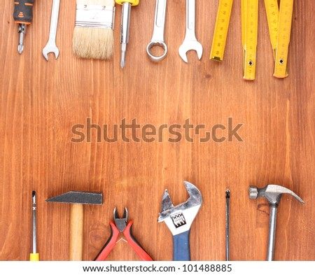 Instruments on wooden background #101488885