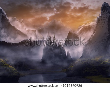 castle in fantasy landscape summer with sunset