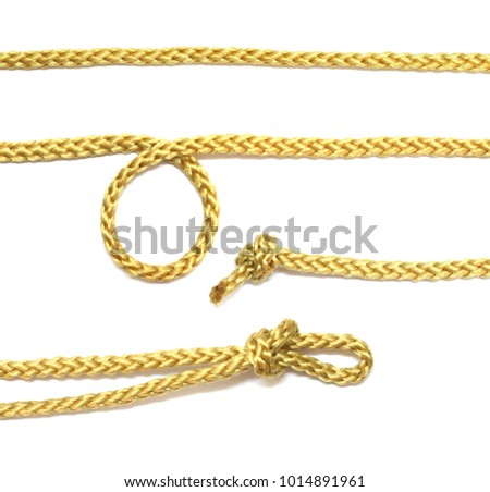 collection of rope string knot cord isolated on background. #1014891961