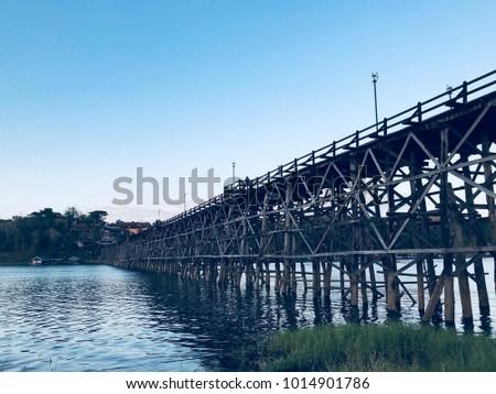 Old wooden bridge in Thailand #1014901786