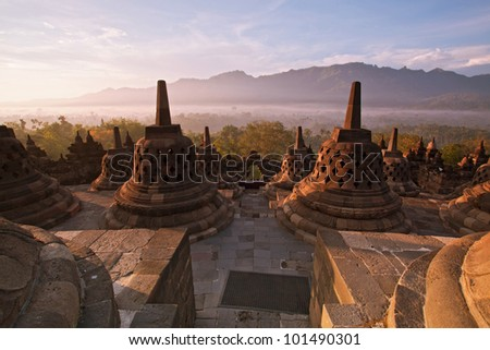 Borobudur Temple Morning  Sunrise in Yogyakarta, Java, Indonesia.