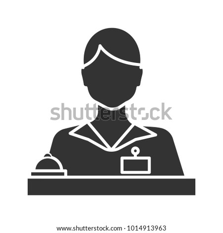 Receptionist glyph icon. Secretary, manager. Silhouette symbol. Negative space. Raster isolated illustration