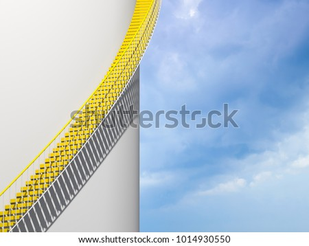 Modern architecture background, yellow stairs goes over round white wall, 3d illustration #1014930550