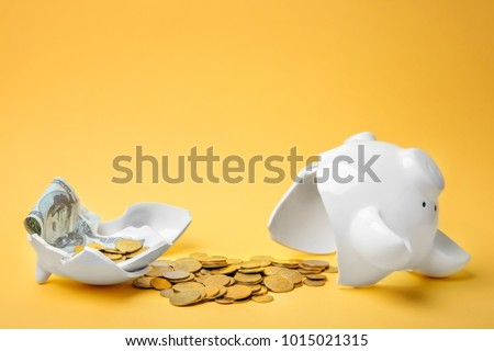 Broken piggy bank with money on color background #1015021315