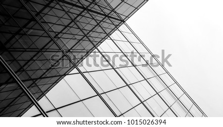 architecture of geometry at glass window - monochrome #1015026394
