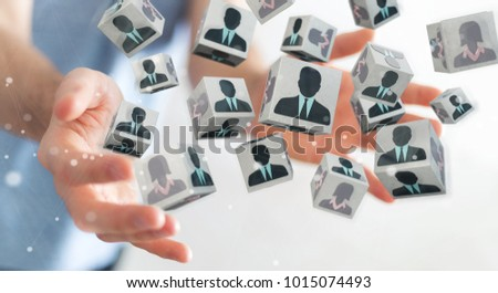 Businessman on blurred background choosing candidate for a job 3D rendering #1015074493