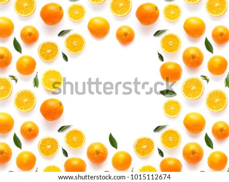 frame of fresh oranges isolated on white background, top view, flat lay. Food  background. Healthy food, detox, diet. #1015112674